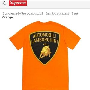 Supreme x Lamborghini collab orange t-shirt new
